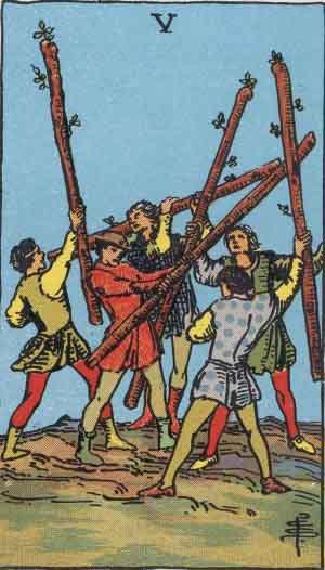 Five of Wands Tarot card